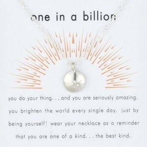 One In A Billion Star Silver Pendant Necklace Card